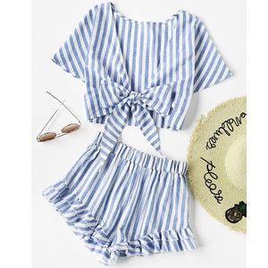 Pants - Blue/White Stripe Short Set